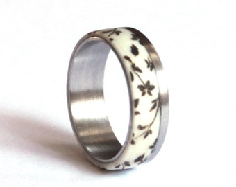 Antler Ring, Wedding Ring with Floral Engraving, Stainless Steel Ring, Deer Antler Wedding Band