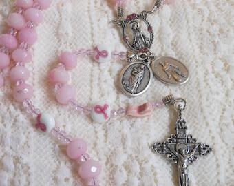 St. Agatha Breast Cancer Awareness Pink Quartz Rosary
