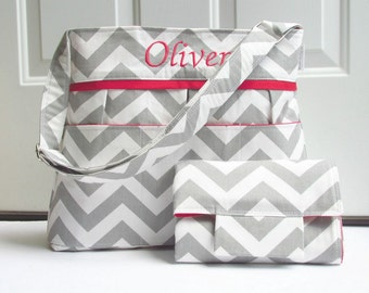 Personalized Chevron Diaper Bag in Gray and Red with Changing Pad or Choose Your Own Monogrammed Nappy