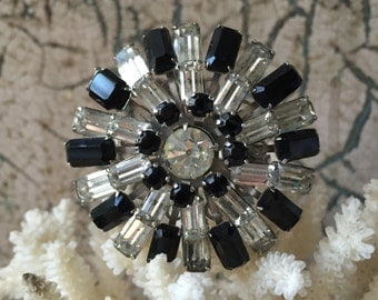 1950's Black and Clear Rhinestone Brooch - VINTAGE