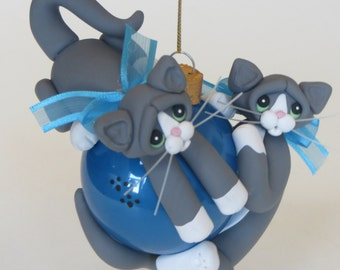 Christmas Ornament Polymer Clay Gray White Tuxedo Cats Playing
