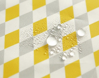 Yellow Gray Diamond Waterproof Fabric - 59 Inches Wide - By the Yard 90741