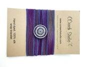 Purple Silk Wrap Bracelet with Enamel Flower Button