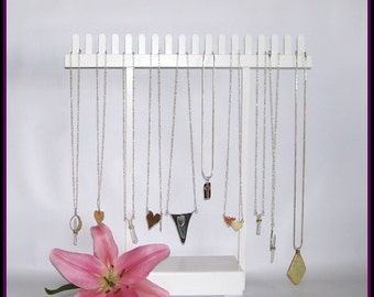 White Chain Necklace Hanger - Show Display - Necklace Organizer - Necklace Holder - Wood