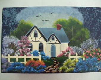 Hand painted wooden trinket box - Cottage - Home decor, Acrylic painting, Ready to ship, Mother's Day