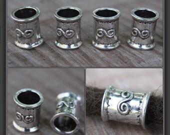 8 Large Hole Tibetan Silver DREADLOCK BEADS 9mm Hole DREAD Hair Beads