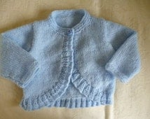 sweet hand knitted baby girl long sleeve bolero/sweater blue 0-3 month