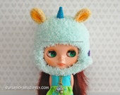 fuzzy unicorn hat for blythe doll, crochet mint green helmet hat, yellow ears, peacock blue felt horn