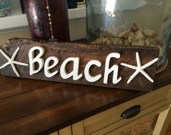 RUSTIC WOOD BEACH Sign - Made out of Reclaimed Wood - Coastal Cottage - Beach -  Star Fish