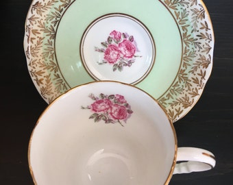 ROYAL STAFFORD TEA Cup and Saucer- Mint green and Cream bands W/ Gold Chintz-like fern leaves. Made in England.