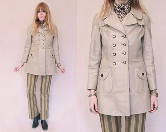 Vtg 70s Beige Faux Leather Double Breasted Mod Jacket S