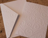 Elegant swirl card, SINGLE, embossed card for wedding, thank you, and more, greeting card note card, blank card