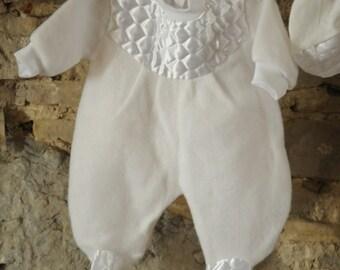 Beautiful vintage baby Christening trouser suit/ Baptism jumpsuit / romper/ babygrow 1980s White fleece & satin newborn boy