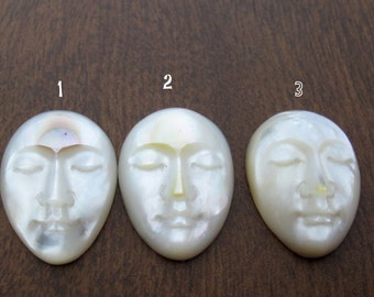 Oval face from mother of pearl, Face Cabochon, Embellishment  B6356