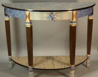 Console Table Demi Lune: Blue Dragonfly Anthropologie Knob, Custom Made