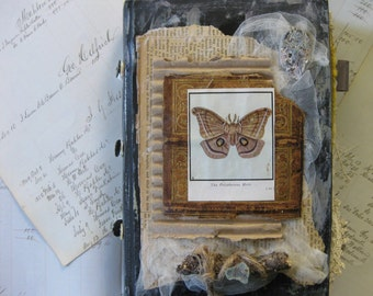 Handmade Journal, Art Journal with Vintage book cover, handpainted pages and embellished with vintage papers and trims
