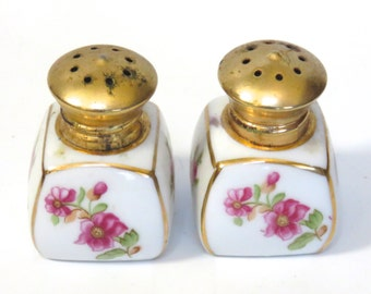 Vintage Irice Salt and Pepper Shakers White Porcelain with Pink Roses and Gold Accent Gold Screw Caps Hand Painted