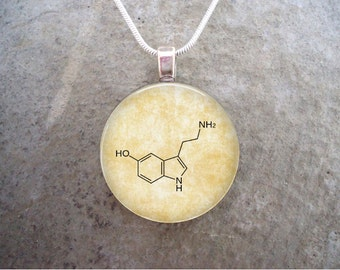 Chemistry Jewelry - Prozac Molecule - Glass Pendant Necklace