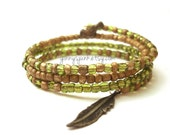 Beaded Memory Wire Bracelet - 4 Strand - Peridot and Gold Dust - Bird Charm - Feather Charm
