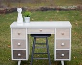 Mid Century Modern White Desk (with ombre stained drawers)