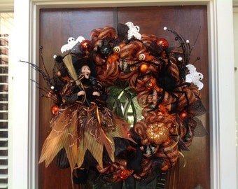 Witch and Ghost Halloween Wreath