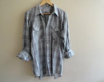 Western Craft Plaid Shirt Soft Cotton size L Large