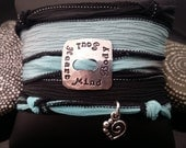 Heart Mind Body Soul  hand stamped hand dyed silk wrap bracelet with heart charm and  magnetic clasp by D2E Gallery