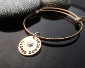 SALE Hand stamped copper,  silver, and rose gold  expandable bangle charm bracelet riveted Just Breathe