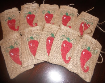 Set of 10.....BURLAP HOT PEPPER Gift Favor Bags