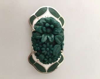 ART DECO Brooch Enameled BROOCH Molded Floral Centerpiece Chrome Pin Green White Enamel Faux Jade Medallion 1920s 1930s Vintage