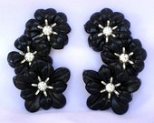 """1950s Large Black Soft Plastic Clear Dazzling Rhinestones Vintage Flower Floral Climber Clip On Earrings Silver Tone Metal Over 2"""" Long!"""