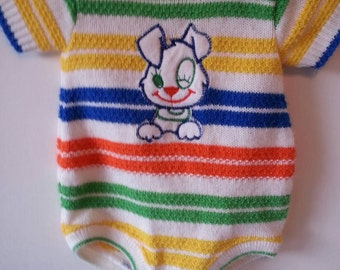 Vintage striped Doe Spun one piece outfit, winking dog