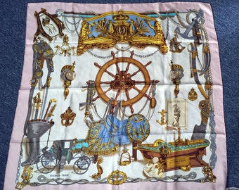 Authentic Hermes Scarf Musee 90 cm Pink