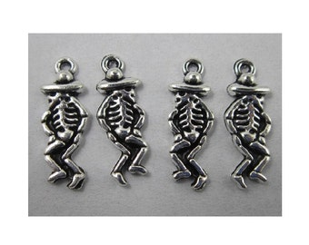 8 Day of the Dead Charms Dancing Skeletons Mariachi Dancers Halloween Atq Silver Tone Mexican Jewelry Craft Supplies 9x24mm