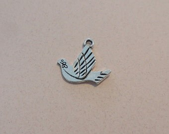 8 Peace Dove Charms with Olive Branch Double Sided Silver Tone Larger Charms 21x20 mm