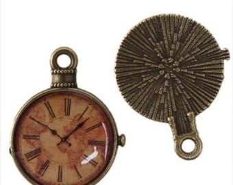4pc 18mm antique bronze finish metal with glass clock pendants-2020
