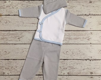 Take Me Home Outfit (Layette Wear) Name or Initial Included! Blue stripes