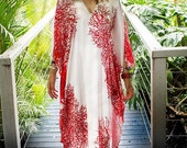 CUSTOM LISTING For ROBERTA. Full Length Pure Silk Satin V Neck Red Coral Kaftan by laMolli Kaftans