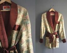 1960s Silk Brocade Smoking Jacket Robe