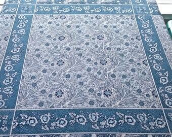 Vintage Blue and White Tablecloth 52 inches wide by 116 inches long