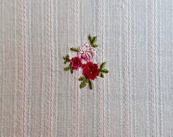 "Vintage Embroidered Floral Cotton Fabric 2 yards and 35 inches long x 44"" wide"