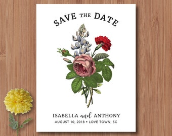Vintage Save the Date - Vintage Wedding - Magnets or Card - Floral Save the Date Cards
