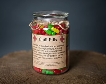 Chill Pill for PROFESSIONALS, office staff, co-workers Glass Apothecary Jar 24 oz Funny Gag Gift