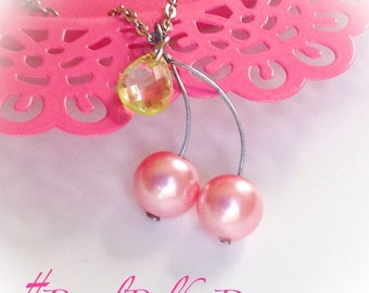 Cherry Necklace Czech Glass Pearl Mother Daughter Pendant