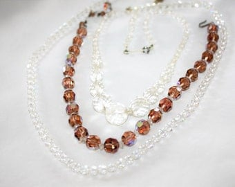 Vintage Crystal  Necklace, 3 Art Deco Crystal Necklaces, Wedding Bridal Necklace 1950s