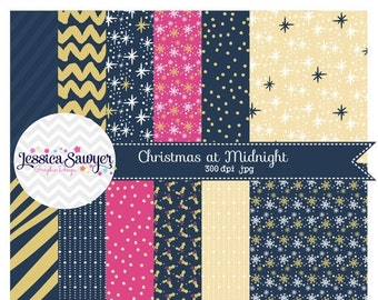 80% OFF - INSTANT DOWNLOAD, Navy and Gold Digital Papers for personal and commercial use
