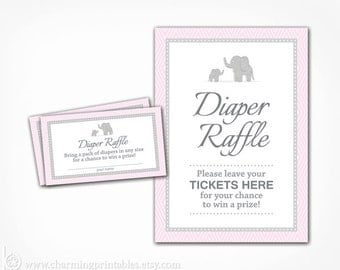 Girl Diaper Raffle Printable Insert Ticket and Sign - Gray Grey and Pink Elephant Baby Shower - Instant Download - Girl Baby Shower