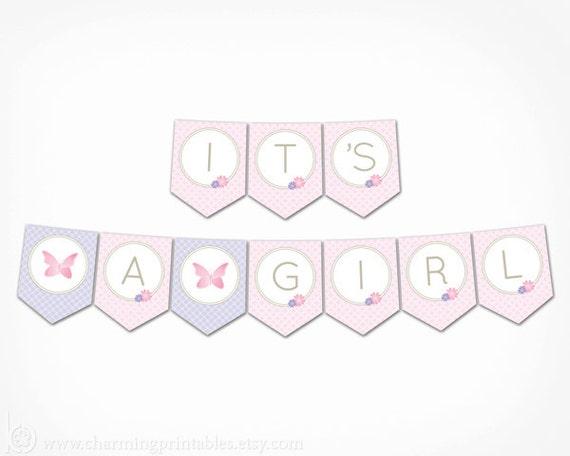it s a girl banner butterfly baby shower decorations printable