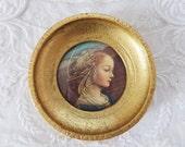 Vintage Florentine Framed Portrait The Adoring Virgin Firenze F. Lippi Small Italy