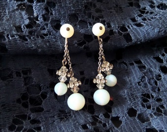 Vintage Moonstone and Rhinestone Earrings Clip On Dangle